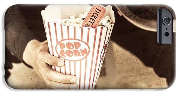1950s Movies iPhone Cases - Old box of retro popcorn iPhone Case by Ryan Jorgensen