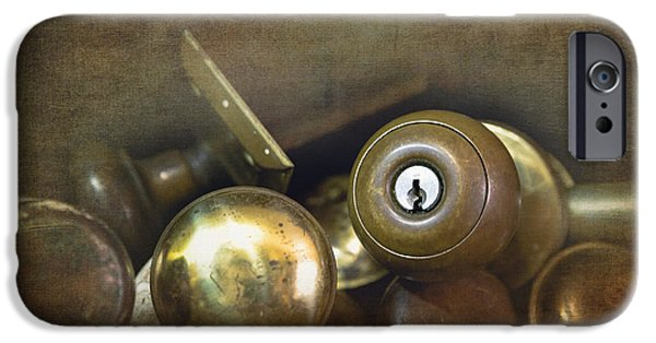 Shed iPhone Cases - Old brass door knobs iPhone Case by Jane Rix