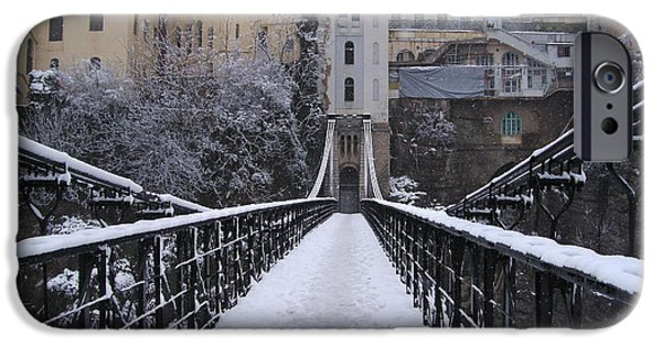 Snowy Pyrography iPhone Cases - Old Bridge Of Constantine iPhone Case by Boultifat Abdelhak badou