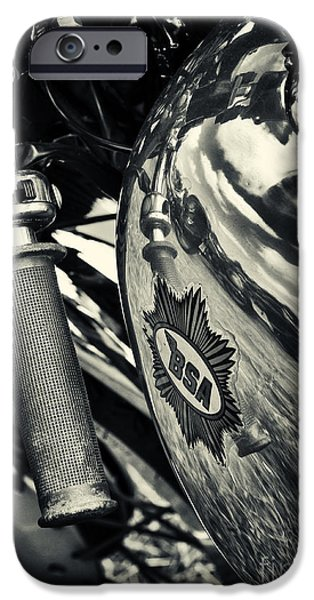 Monochrome iPhone Cases - Old BSA Cafe Racer iPhone Case by Tim Gainey