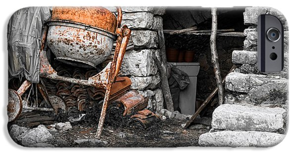 Building Site iPhone Cases - Old building site iPhone Case by Sinisa Botas