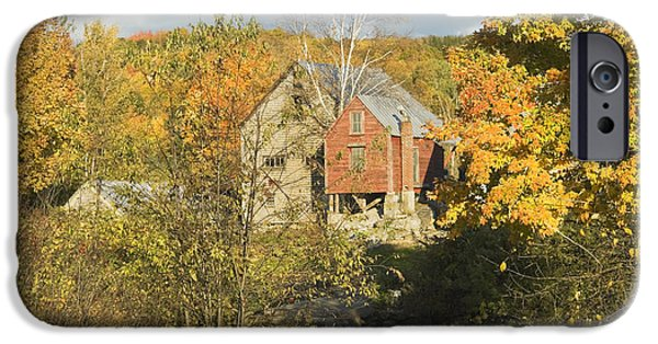 Autumn In New England iPhone Cases - OLd Buildings and Fall Colors in Vienna Maine iPhone Case by Keith Webber Jr