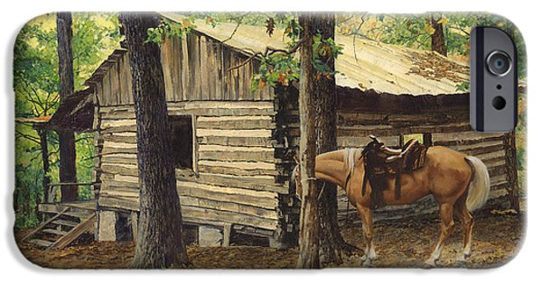 Log Cabins iPhone Cases - Log Cabin - Back View - at Big Creek iPhone Case by Don  Langeneckert