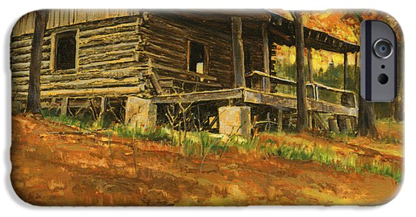 Cabin iPhone Cases - Old Cabin in Autumn iPhone Case by Don  Langeneckert