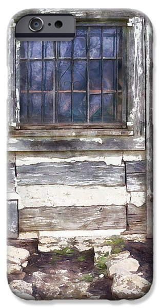 Cabin Window iPhone Cases - Old Cabin Window  iPhone Case by L Wright