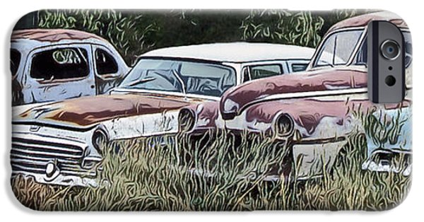 Creepy iPhone Cases - Old Car Graveyard iPhone Case by Richard Farrington