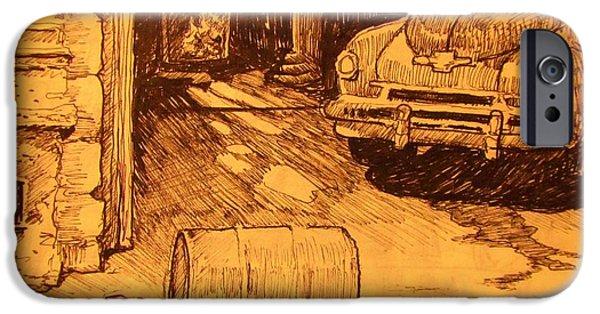 Rust Drawings iPhone Cases - Old Car in Garage iPhone Case by John Malone