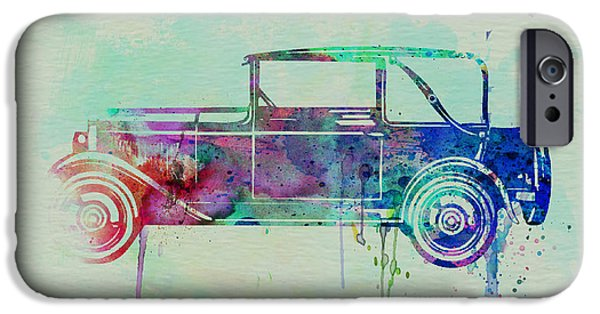 Automotive Drawings iPhone Cases - Old car watercolor iPhone Case by Naxart Studio