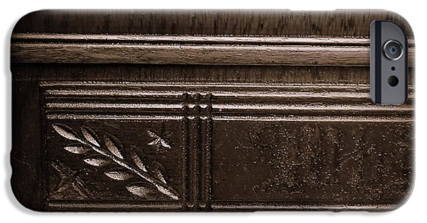 Warn In iPhone Cases - Old Carved Wood Cabinet iPhone Case by JW Hanley