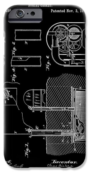 Haunted House Mixed Media iPhone Cases - Old Casket Patent iPhone Case by Dan Sproul