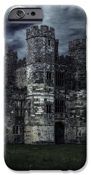 Eerie iPhone Cases - Old Castle At Night iPhone Case by Joana Kruse