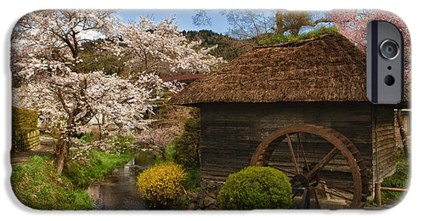 Blossom iPhone Cases - Old Cherry Blossom Water Mill iPhone Case by Sebastian Musial