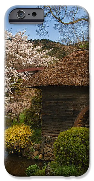 Old Cherry Blossom Water Mill iPhone Case by Sebastian Musial
