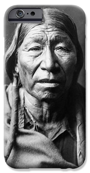 Braids iPhone Cases - Old Cheyenne Man circa 1910 iPhone Case by Aged Pixel