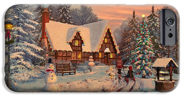 Santa Digital iPhone Cases - Old Christmas Cottage iPhone Case by Dominic Davison