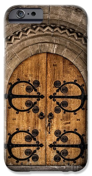 Religious Icon iPhone Cases - Old Church Door iPhone Case by Edward Fielding