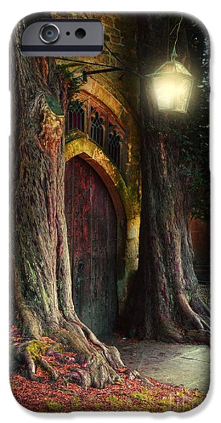 Jrr iPhone Cases - Old Church Door iPhone Case by Jill Battaglia