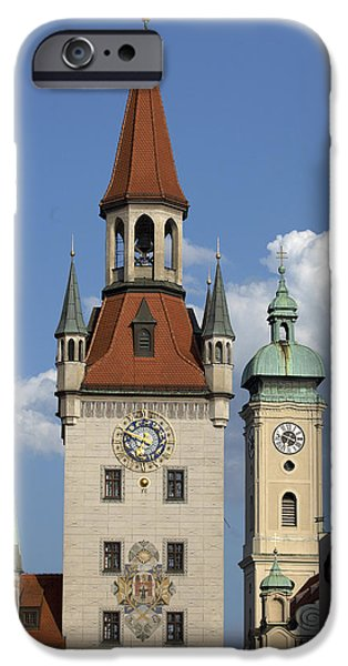 Marienplatz iPhone Cases - Old City Hall, Marienplatz, Munich iPhone Case by Tips Images