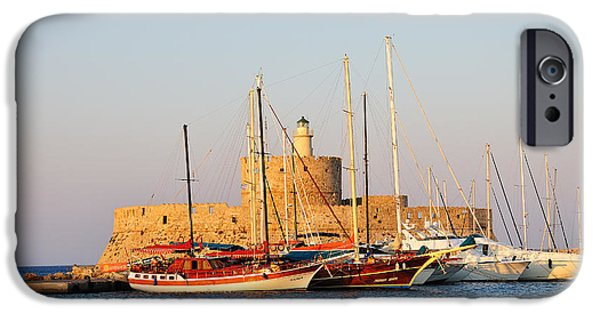 Mandraki iPhone Cases - Agios Nikolaos lighthouse at the old city of Rhodes iPhone Case by George Atsametakis