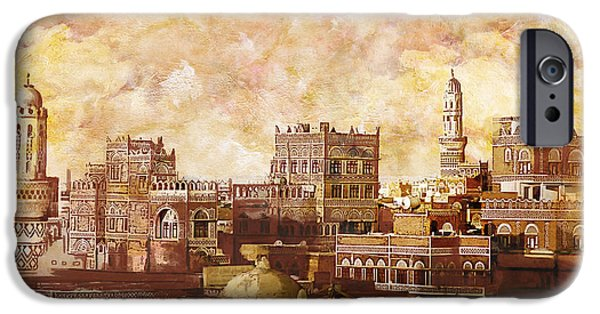 Historic Site Paintings iPhone Cases - Old city of sanaa iPhone Case by Catf