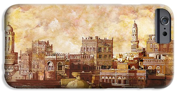 Historic Site Paintings iPhone Cases - Old City Of Sanaa iPhone Case by Corporate Art Task Force