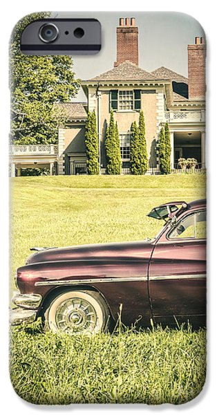 U.s.a. iPhone Cases - 1951 Mercury sedan in front of large mansion iPhone Case by Edward Fielding