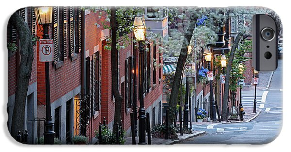 City. Boston iPhone Cases - Old Colonial Brick Row Houses of Beacon Hill iPhone Case by Juergen Roth