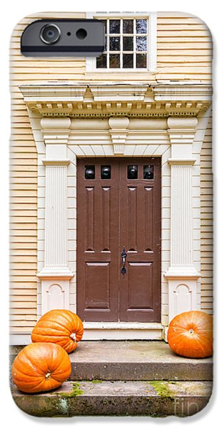 Stately iPhone Cases - Old Colonial Era Front Door with pumpkins iPhone Case by Edward Fielding