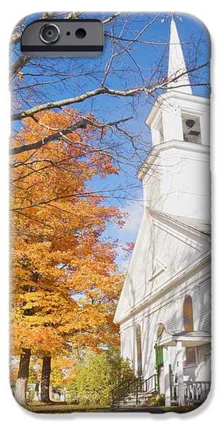 Fall iPhone Cases - Old Country Church In Fall Monmouth Maine iPhone Case by Keith Webber Jr