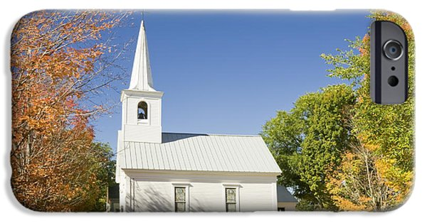 Fall iPhone Cases - Old Country Church In Fall Rumford Center Maine iPhone Case by Keith Webber Jr