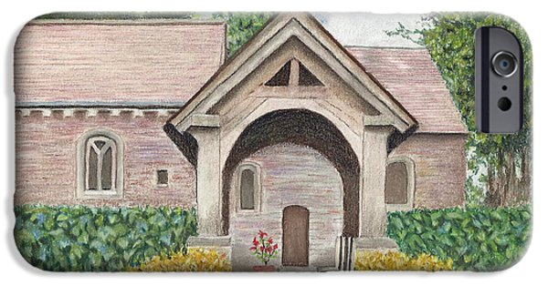 Country Pastels iPhone Cases - Old Country Church in Pastel iPhone Case by Linda Taylor