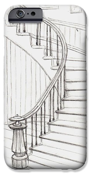 Concord Drawings iPhone Cases - Old Courthouse Stairs number two iPhone Case by Stacy C Bottoms