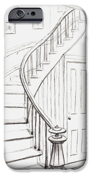 Concord Drawings iPhone Cases - Old Courthouse Stairs number one iPhone Case by Stacy C Bottoms