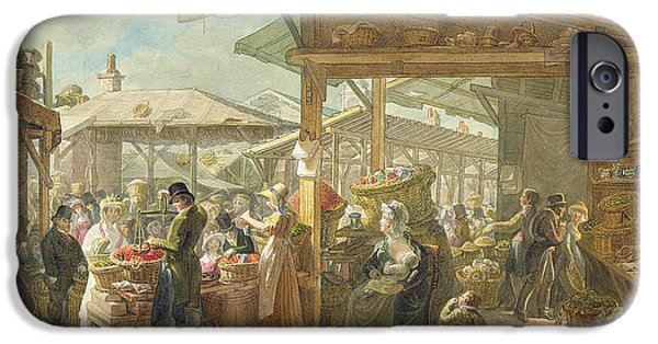 Garden Scene Paintings iPhone Cases - Old Covent Garden Market iPhone Case by George the Elder Scharf