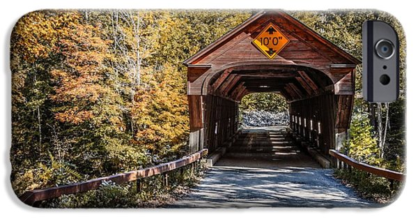 Rural iPhone Cases - Old Covered Bridge Vermont iPhone Case by Edward Fielding