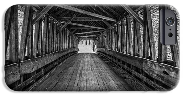 Covered Bridge iPhone Cases - Old Covered Bridge Winter Interior iPhone Case by Edward Fielding