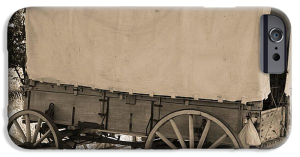 Wooden Wagons iPhone Cases - Old Covered Wagon Out West iPhone Case by Dan Sproul