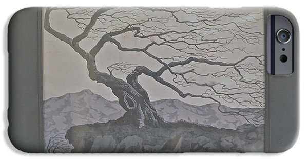 Monotone Paintings iPhone Cases - Gnarled Dead Tree iPhone Case by Jim Ellis