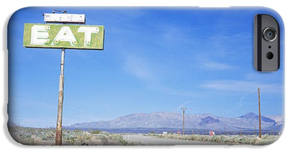 Road Travel iPhone Cases - Old Diner Sign, Highway 395 iPhone Case by Panoramic Images