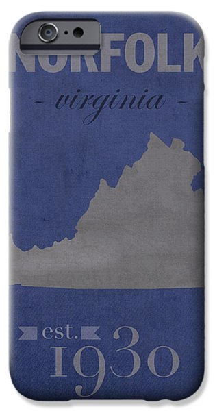 Old Mixed Media iPhone Cases - Old Dominion University Monarchs Norfolk Virginia College Town State Map Poster Series No 085 iPhone Case by Design Turnpike