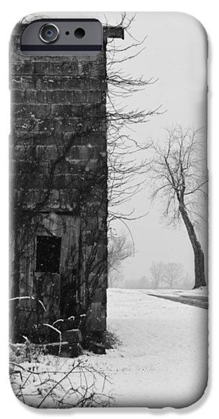 Snowy Day Photographs iPhone Cases - Old Door and Tree iPhone Case by William Jobes