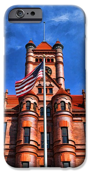 American Flag Paintings iPhone Cases - Old DuPage County Courthouse Flag iPhone Case by Christopher Arndt