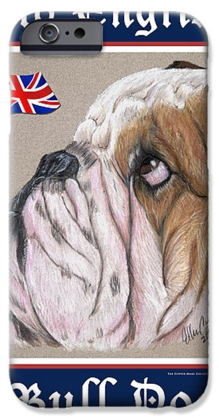 Bulls Pastels iPhone Cases - Old English Bull Dog iPhone Case by Ellen Lyner