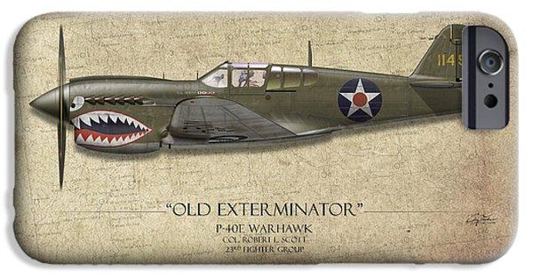 Warhawk iPhone Cases - Old Exterminator P-40 Warhawk - Map Background iPhone Case by Craig Tinder