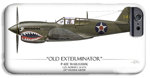 Old Digital iPhone Cases - Old Exterminator P-40 Warhawk - White Background iPhone Case by Craig Tinder