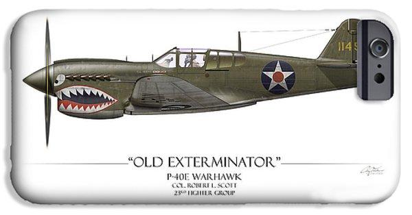 Warhawk iPhone Cases - Old Exterminator P-40 Warhawk - White Background iPhone Case by Craig Tinder