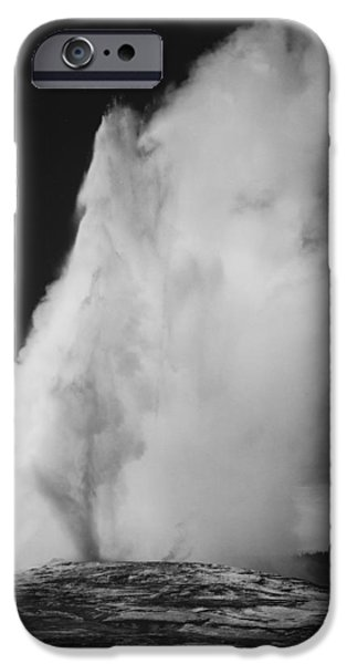 Mountain Digital Art iPhone Cases - Old Faithful Geyser Yellowstone National Park Wyoming iPhone Case by Ansel Adams