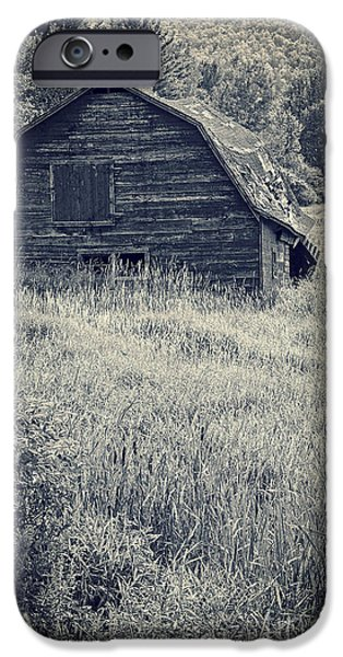Farming Barns iPhone Cases - Old falling down barn blue iPhone Case by Edward Fielding