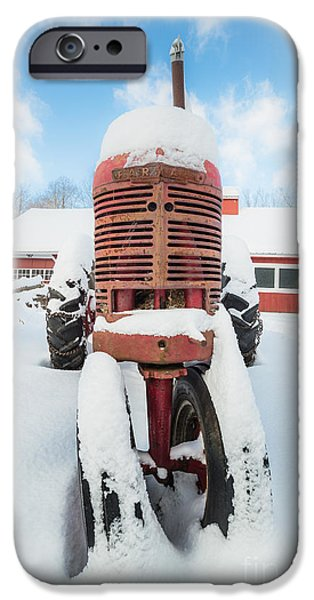 Farm iPhone Cases - Old Farm Tractor in the Snow iPhone Case by Edward Fielding