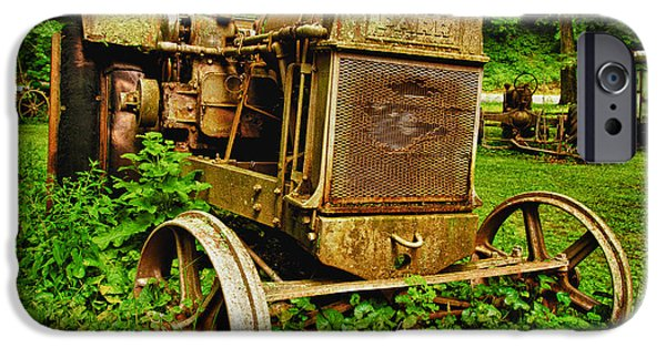 Farm iPhone Cases - Old Farm Tractor iPhone Case by Sebastian Musial